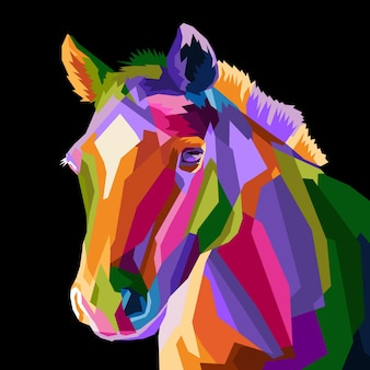 Retrato colorido da arte pop de cavalo