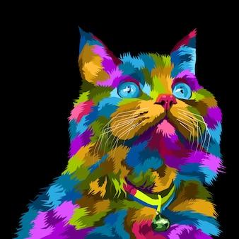 Retrato colorido da arte pop de gato isolado