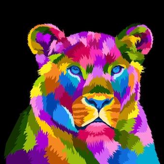 Retrato colorido da arte pop de leão