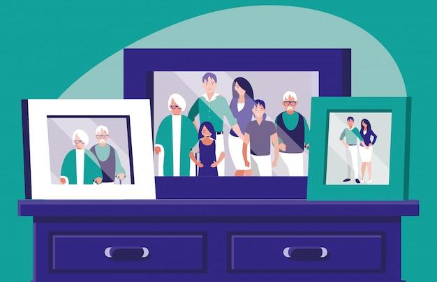 Retrato com foto de membros da família na gaveta