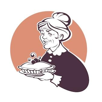 Retrato da adorável avó e torta caseira, para seu logotipo ou etiqueta