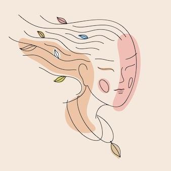 Retrato da arte do rosto da mulher, linha feminina. jovem com folhas coloridas no cabelo