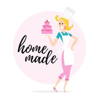 Retrato da cozinheira de uniforme. estilo.