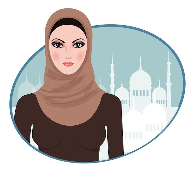 Retrato da menina muçulmana bonita no hijab
