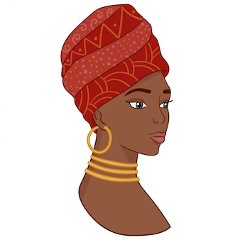 Retrato da mulher africana bonita no turbante tradicional.