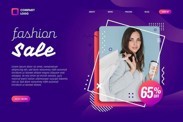 Retrato da página de destino de venda de moda de mulher