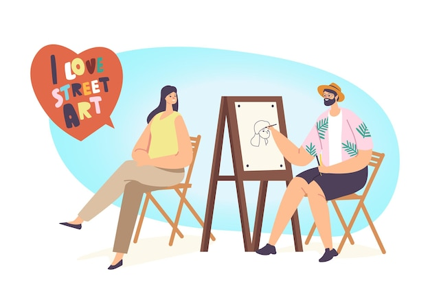 Retrato da pintura do personagem do artista de rua da menina bonita sentada na frente do cavalete. pintor segurando escova, mulher posando, passatempo criativo ao ar livre, arte, profissão. ilustração em vetor desenho animado