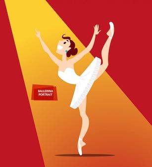 Retrato da senhora bailarina de uniforme. estilo.