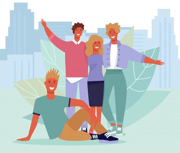 Retrato de amigos felizes sobre ilustração da paisagem urbana