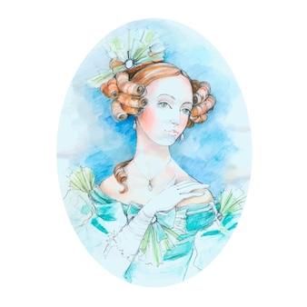 Retrato de aquarela senhora vintage.