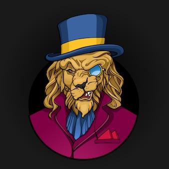 Retrato de aristocrata leão com monóculo
