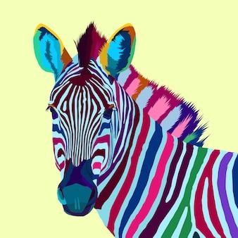 Retrato de arte pop zebra colorido