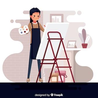 Retrato, de, artista, no trabalho