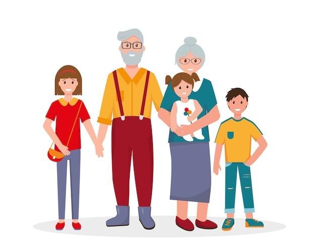 Retrato de avós sorridentes com netos