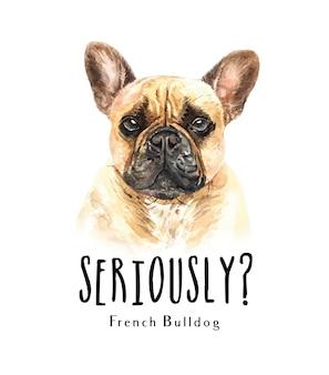 Retrato de buldogue francês para impressão