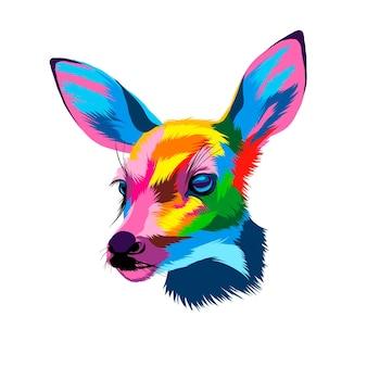 Retrato de cabeça de veado sika em tintas multicoloridas respingo de aquarela colorido desenho realista