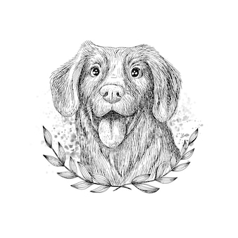 Retrato de cachorro vintage linear desenhado à mão