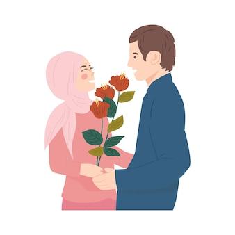Retrato de casal de noivos fofo