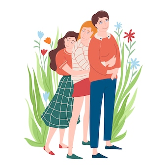 Retrato de corpo inteiro de duas mulheres jovens, abraçando-se e sua mãe, sentindo-se feliz, mãe e filha