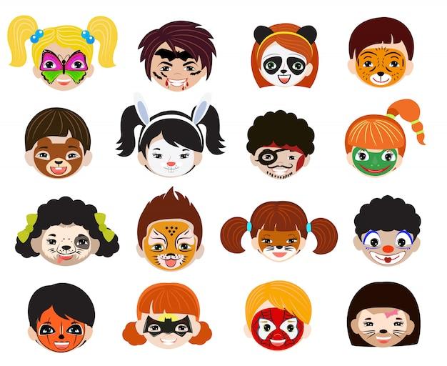 Retrato de crianças de pintura de rosto com maquiagem pintada facial e conjunto de ilustração de personagem menina menino de animalista facepaint gato cachorro e pirata para festa de halloween, isolada no fundo branco