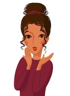 Retrato de desenho animado, mulher fofa maravilhada com as mãos na frente da boca