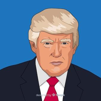 Retrato de donald trump de mão desenhada