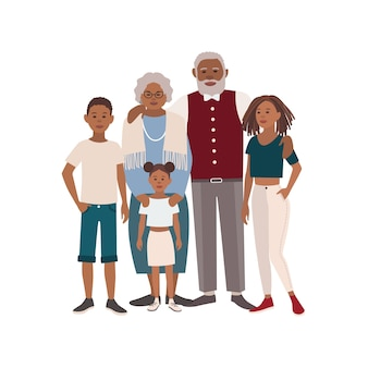 Retrato de família afro-americana feliz