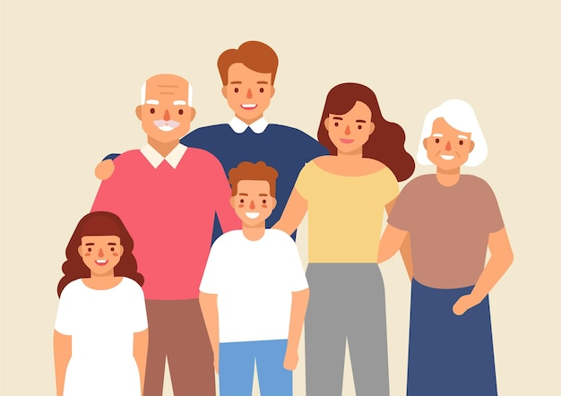 Retrato de família feliz com o avô, avó, pai, mãe, menina criança e menino juntos. bonitos engraçados personagens de desenhos animados sorridentes. ilustração vetorial colorida em estilo simples.