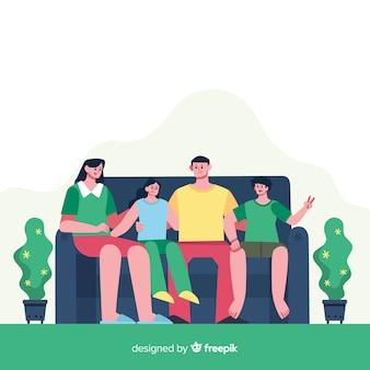 Retrato de família feliz, design de personagens vetorizados