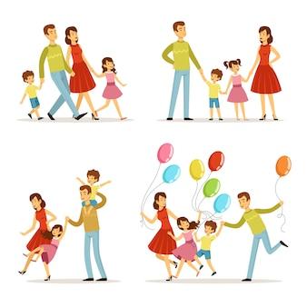Retrato de família feliz. pai, mãe e filhos andando no parque.
