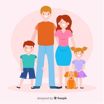 Retrato de família plana colorida