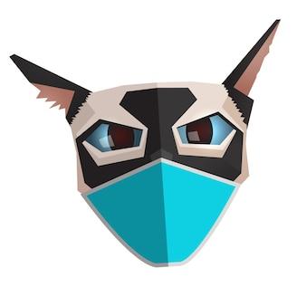Retrato de gato siamês com máscara médica azul personagem abstrato engraçado quarentena conceito animal de estimação