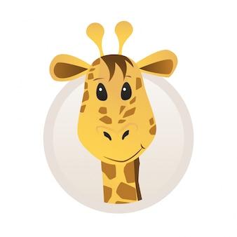 Retrato de girafa em estilo de desenho animado com quadro para foto de perfil de animal