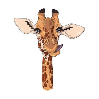 Retrato de girafa engraçada.