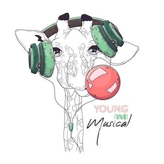 Retrato de girafa fofa em fones de ouvido musicais