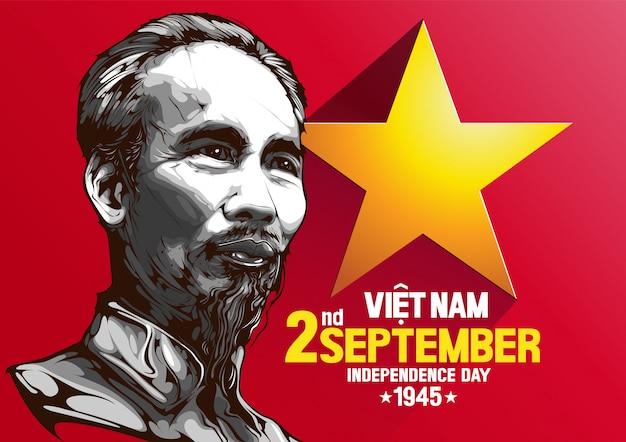 Retrato, de, ho chi minh, vietnã, dia independência
