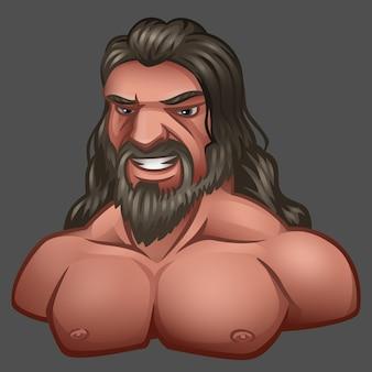 Retrato de homem com cabelo comprido