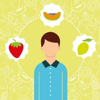 Retrato de homem com imagem de frutas frescas orgânicas