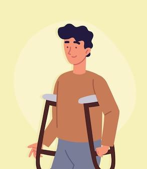 Retrato de homem deficiente com muletas