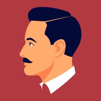 Retrato de homem moreno de bigode no perfil