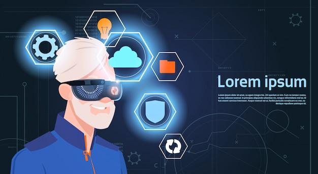 Retrato, de, homem sênior, desgastar, headset vr, óculos