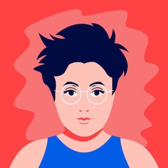 Retrato de ilustração plana de menina