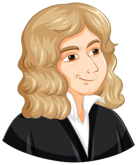 Retrato de isaac newton em estilo cartoon