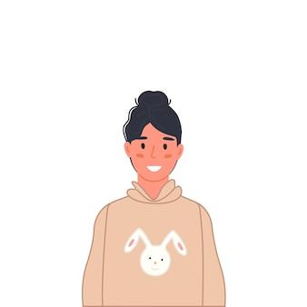 Retrato de jovem adolescente adolescente feliz com roupas casuais