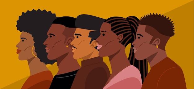 Retrato de jovens penteados afro-americanos.