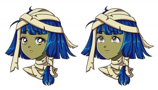 Retrato de menina anime bonito múmia. duas expressões diferentes. ilustração em vetor mão desenhada estilo retrô anime dos anos 90. isolado.