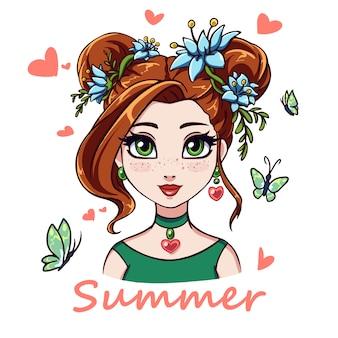 Retrato de menina bonita dos desenhos animados. grandes olhos verdes, cabelos ruivos e flores azuis. mão ilustrações desenhadas