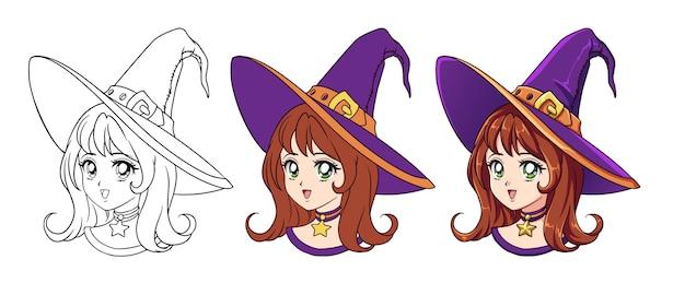 Retrato de menina bruxa de anime fofo. três versões: contorno, cores planas, sombreamento celular. ilustração de mão desenhada estilo anime retro. isolado no fundo branco.