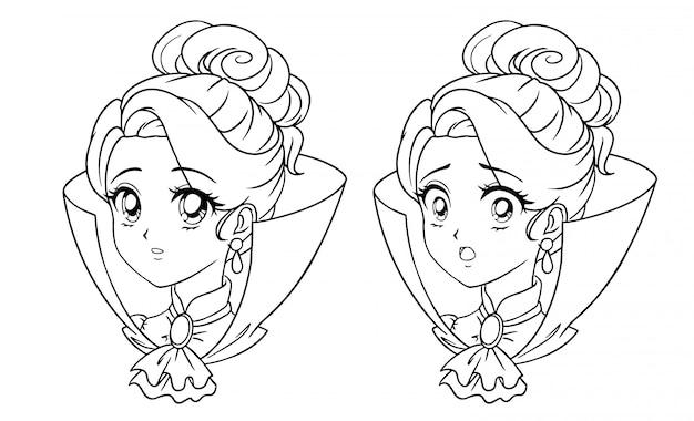 Retrato de menina manga bonito vampiro. duas expressões diferentes. anos 90 estilo de anime retrô mão desenhada ilustração em vetor contorno. isolado.