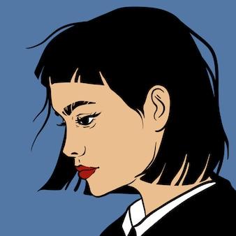 Retrato de menina morena. ilustração vetorial